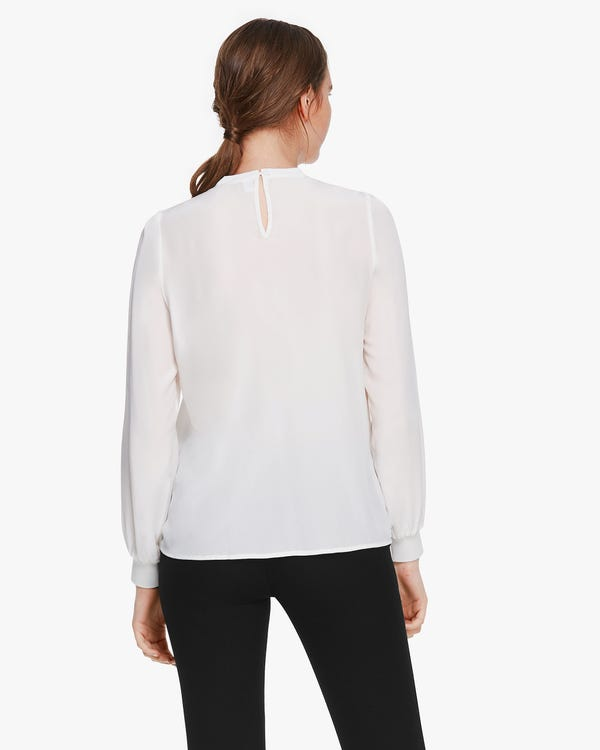 Basic Silk Blouse With Ribbed Cuffs Natural-White XS-hover