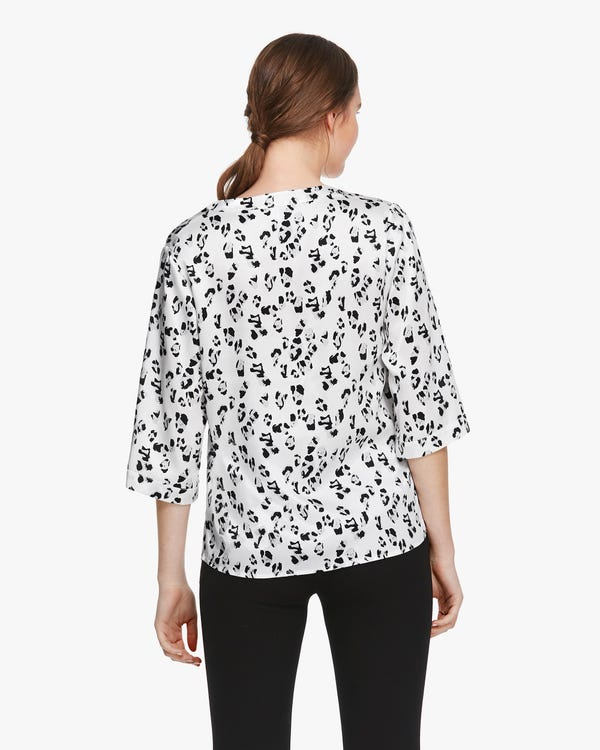 Snow Leopard Print Silk Tunic Blouse-hover