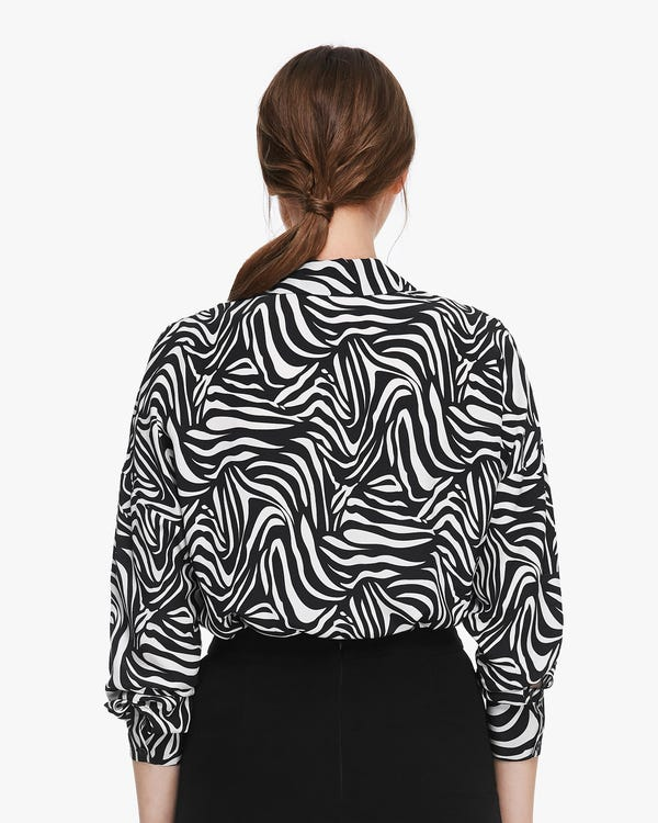 Zebra Print Long Sleeve Silk Shirt Zebra-Stripe XS-hover