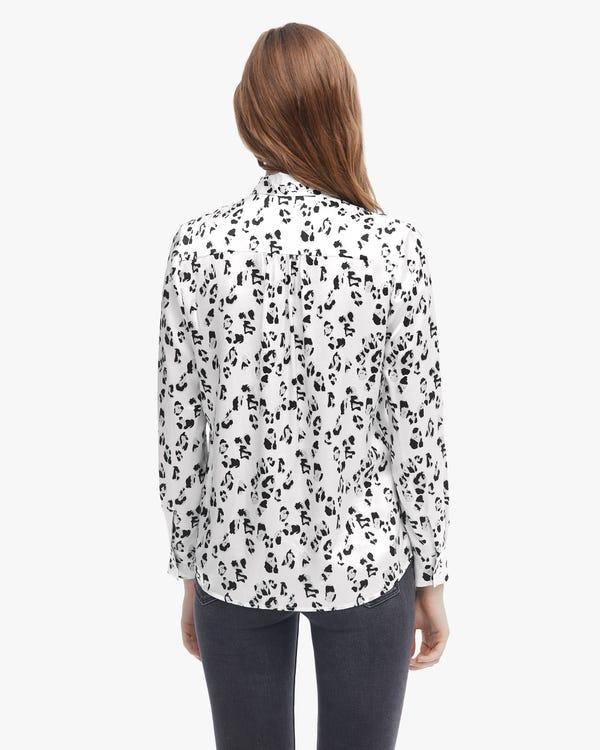 Leopard Print Pure Silk Blouse Snow-Leopard XS-hover