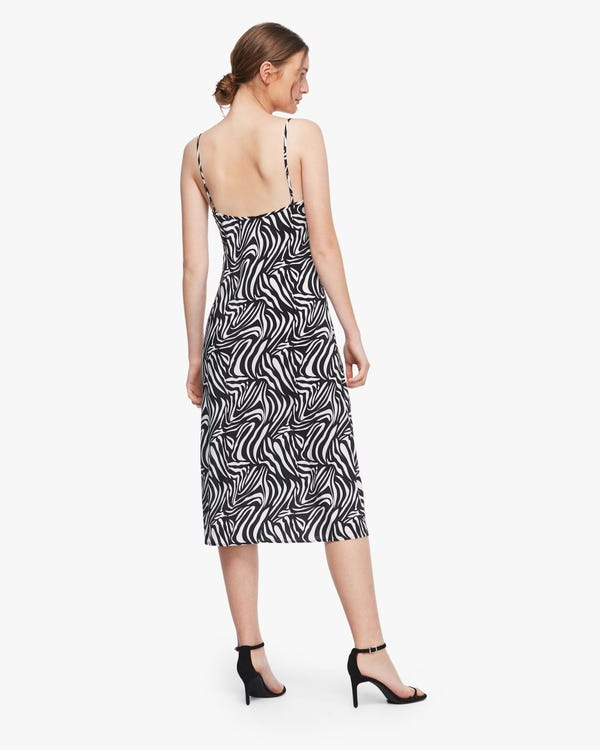 Zebra Stripes Print Silk Slip Dress-hover