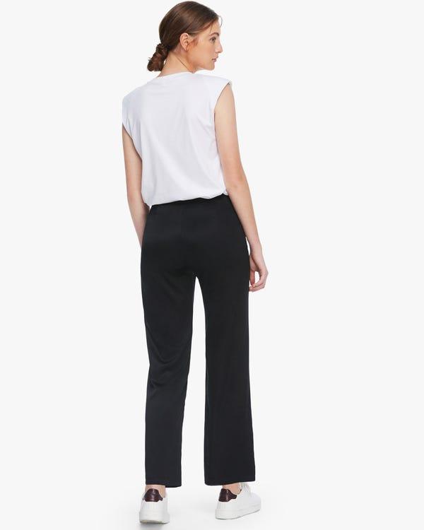 Flattering Silk Wide-Leg Pants Black 32B-hover
