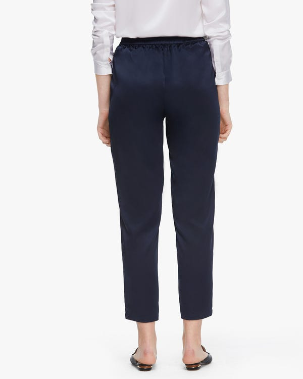 Tapered Silk Women trousers Navy Blue 27B-hover