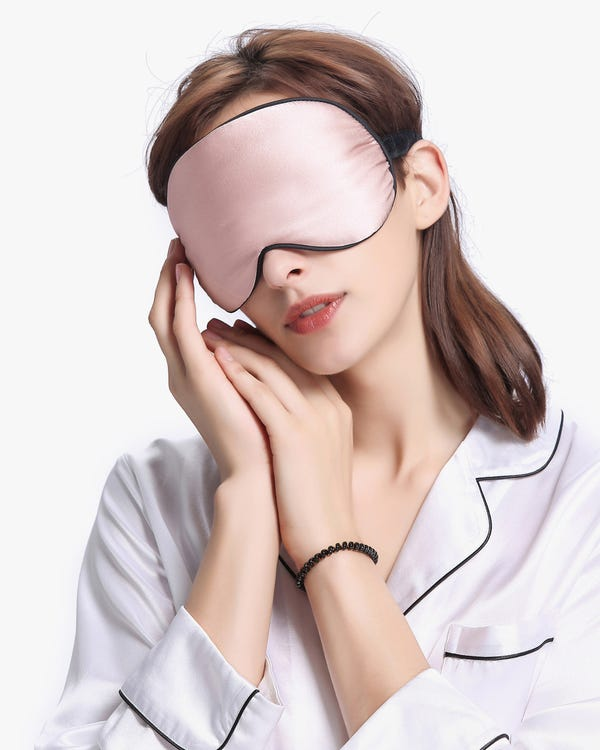Silk Sleep Eye Mask With Black Trimming-hover
