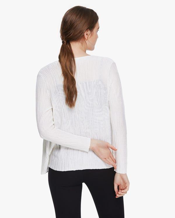 Elegante cardigan in maglia di seta plissettata Natural-White M-hover