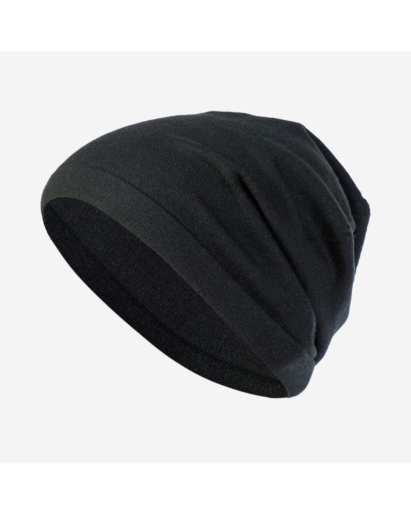 Basic Soft Silk Knitted Dome hat Black 50x25cm-hover
