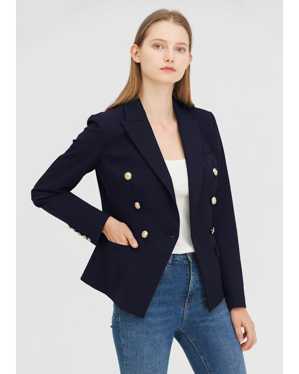 Classic Double Breasted Slim Blazer Navy Blue XXS-hover