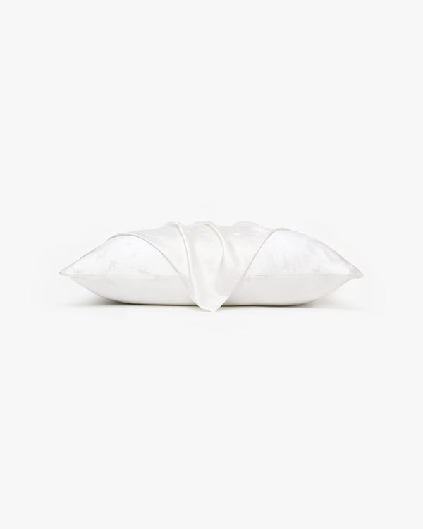 Stern Jacquard Seide Kissenbezug mit verstecktem Reißverschluss Natural-White 80x80cm-hover