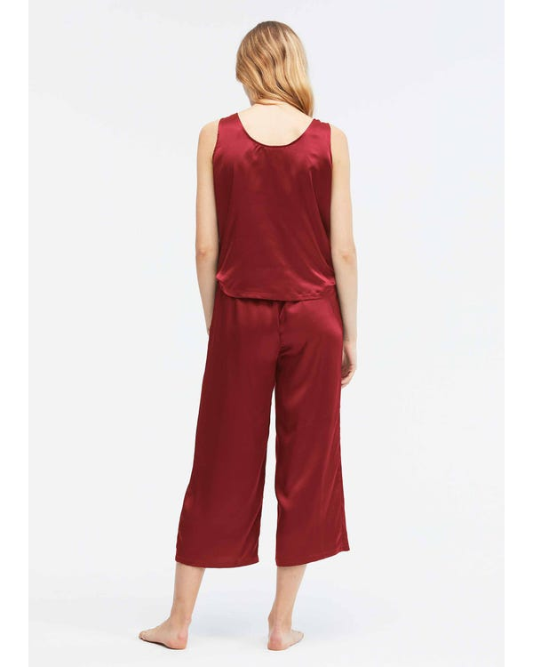 22 Momme einfacher Seide Jumpsuit Pyjama-hover
