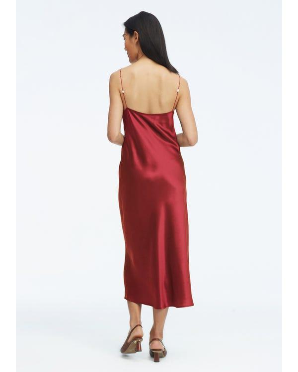 Elegantes V-Ausschnitt Seidenkleid mit Perle Claret M-hover