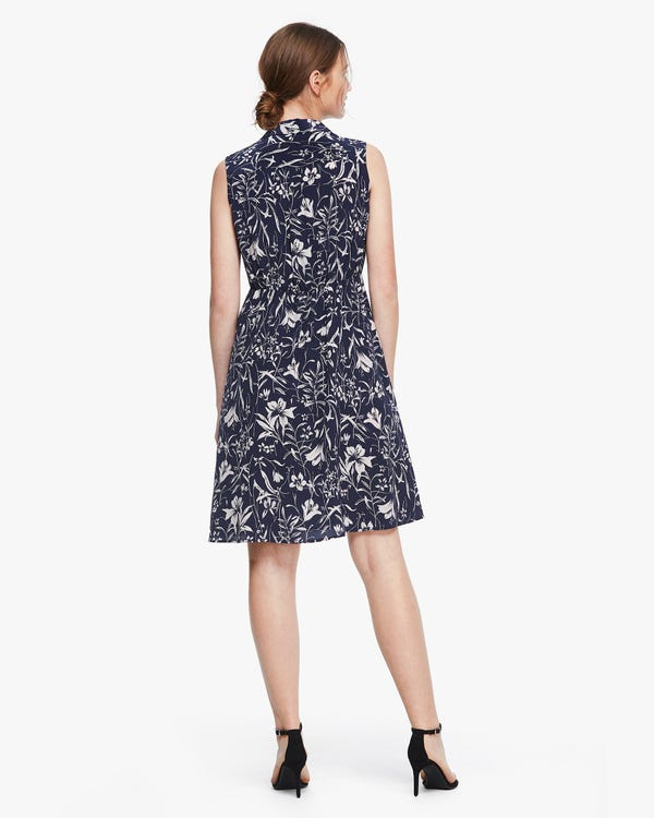 Charming Lily Print Sleeveless Silk Dress Lily-On-Navy-Blue XS-hover