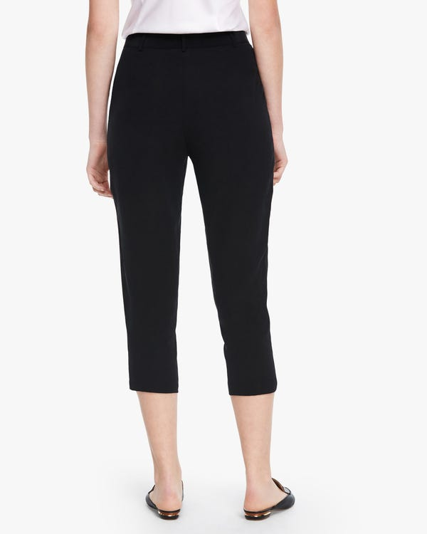 Buttoned Cropped Women Silk Pants Black 26B-hover