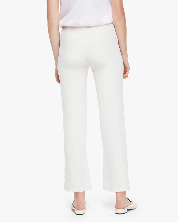 Premium Cropped Women Silk Pants Natural-White 29B-hover