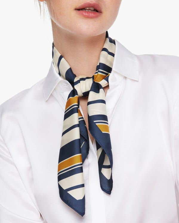 Luxury Striped Twill Silk Square Scarf-hover