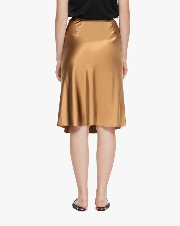 Modern Elegant Silk Midi Skirt Pale-Camel L-hover