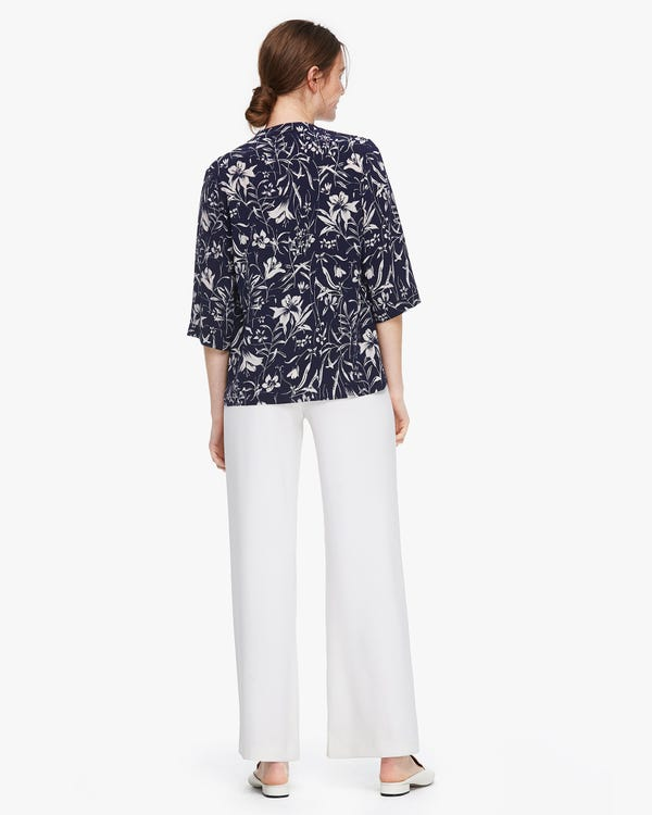 Charming Lily Print Silk Blouse Lily-On-Navy-Blue M-hover
