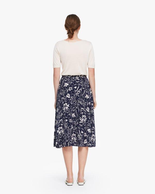 Charming Lily Print Silk Slip Skirt Lily-On-Navy-Blue 26B-hover