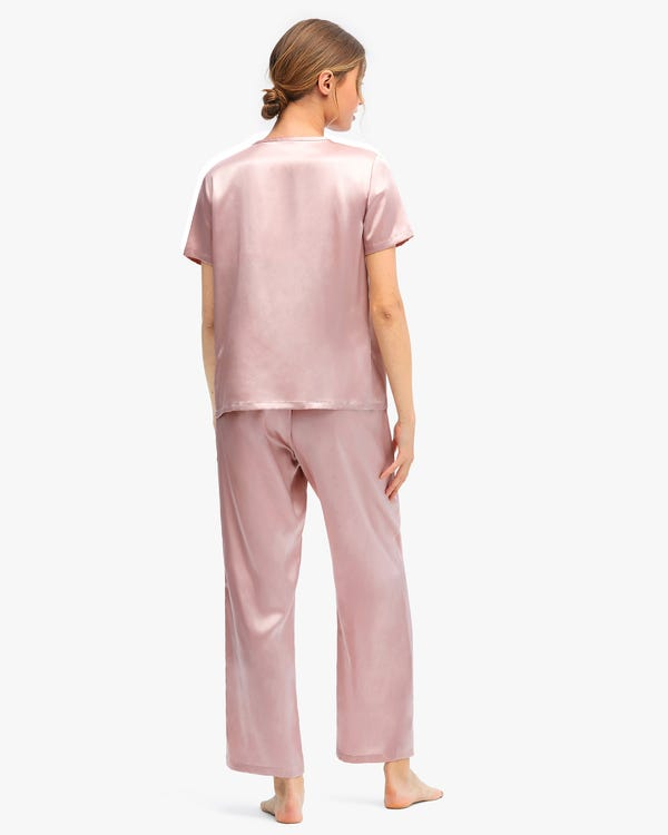 Bra-In Silk Loungewear Women Pants Set Rosy Pink M-hover