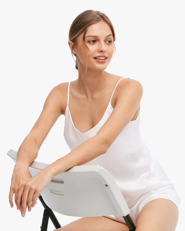 Comfortable Bra-In Silk Camisole Set White M-hover