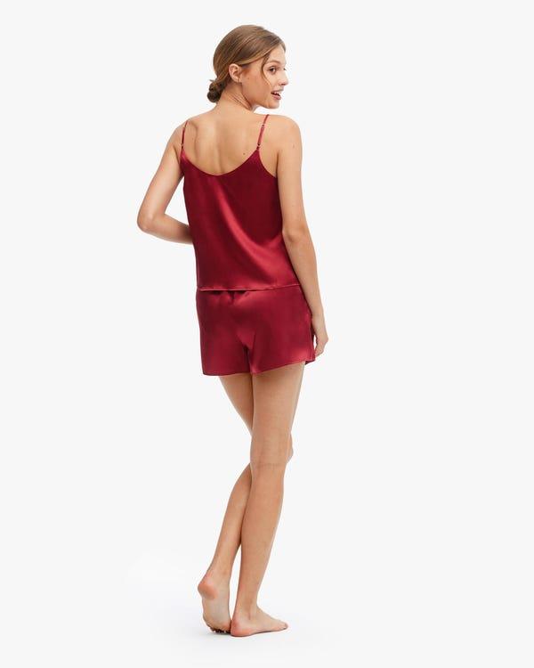 Comfortable Bra-In Silk Camisole Set Claret M-hover