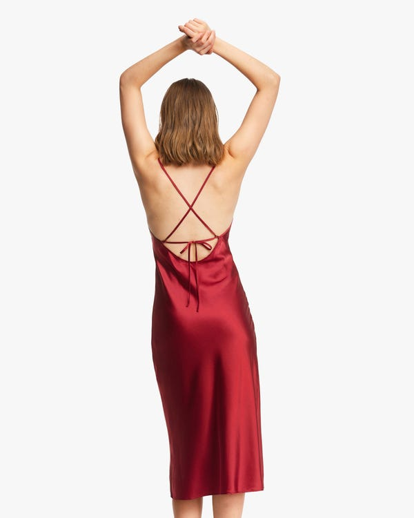 Elegant Bra-In Silk Midi Dress Claret XS-hover