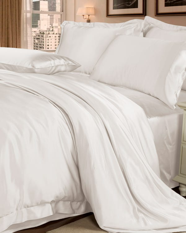 22MM 4PCS Silk Bedding Set Ivory Queen-hover