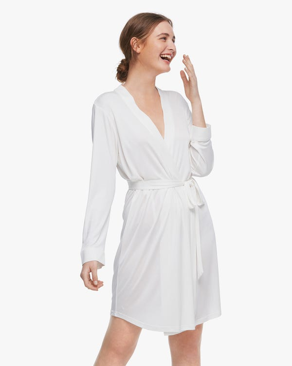 Washable Silk Knitted Dressing Gown For Women-hover