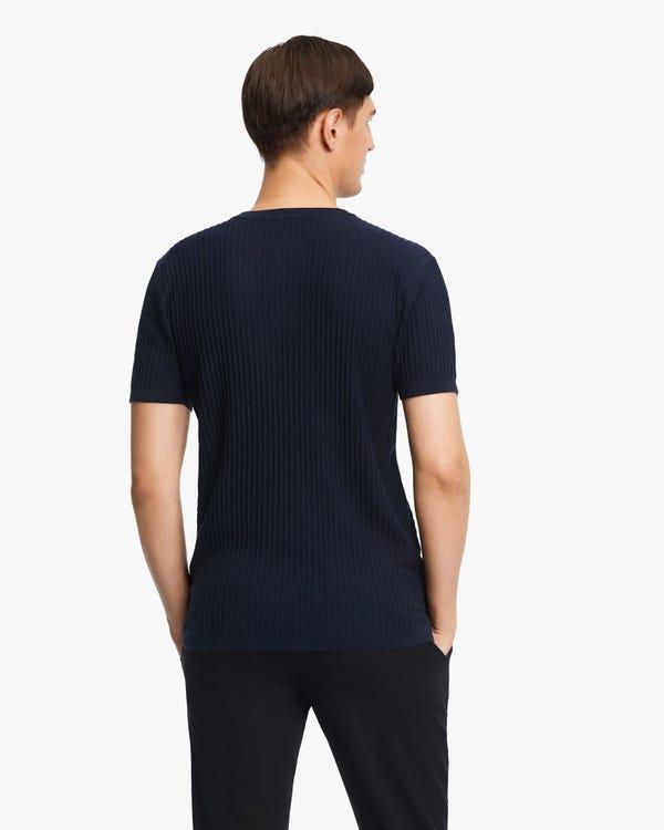 Jacquard Silk Knit Men T-shirt Navy Blue L-hover