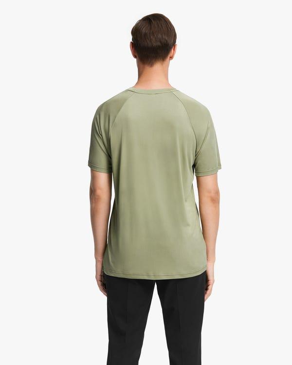 Simple Silk Knit Men T-shirt Gray-Green L-hover