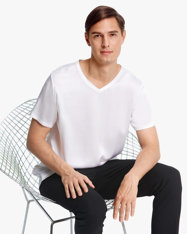 Short-Sleeved V Neck Silk Mens Tee-hover