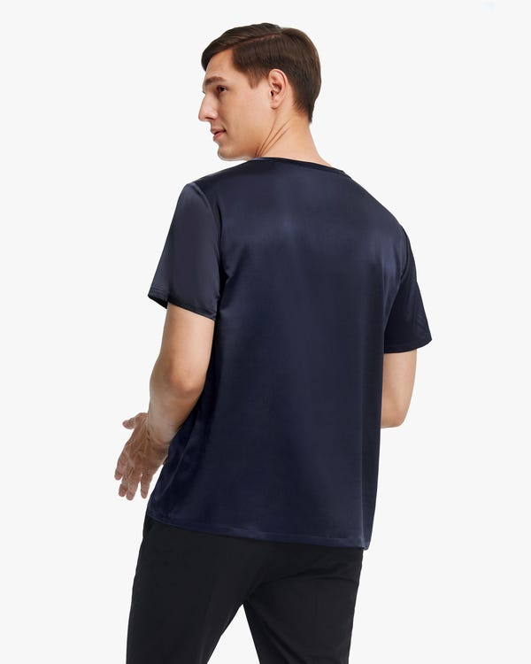 Kurzärmliges Herren T-Shirt aus Seide Navy Blue M-hover