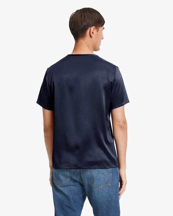 Short-Sleeved Round Neck Silk Mens Tee-hover