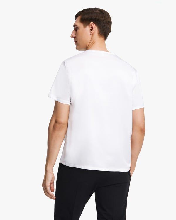 Short-Sleeved Round Neck Silk Mens Tee White L-hover