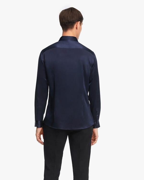 Elegantes Seide Herrenhemd Navy Blue M-hover