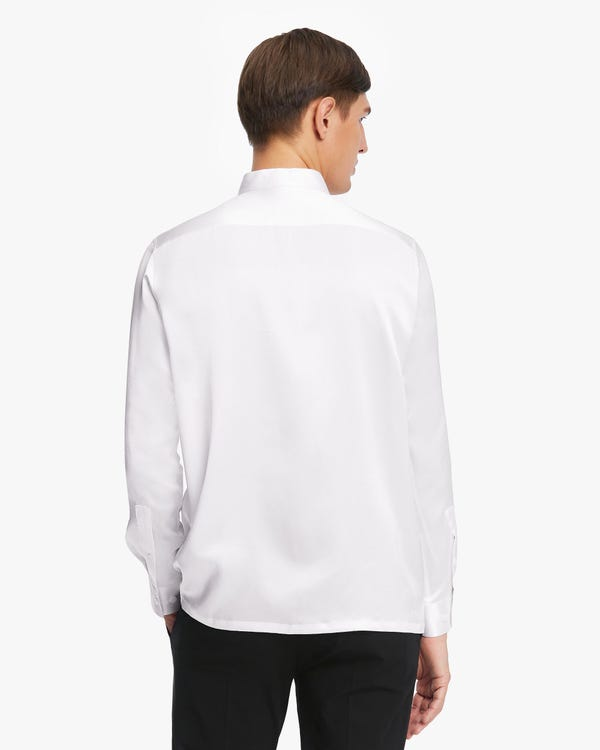 Classic Concealed Placket Silk Men Shirt White L-hover