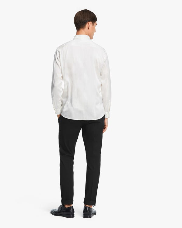 Glossy Striped Silk Shirt For Men Natural-White L-hover