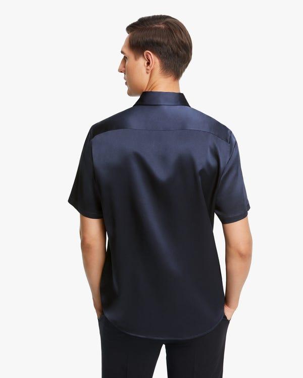Luxus Kurzarm Seidenhemd für Männer Navy Blue M-hover