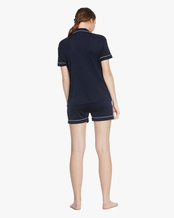 Trimmed Silk Women Short-sleeve Pyjamas Set Navy Blue L-hover