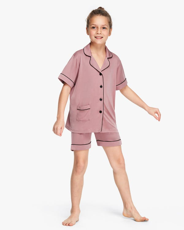 Chic Trimmed Kids Silk Knitted Pajamas Set Quicksand-Pink 120-hover