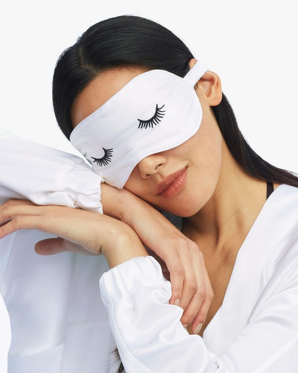 Embroidered Lashes Silk Eye Mask