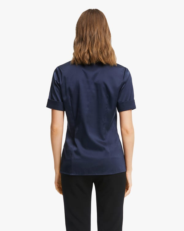 Stretchable Women Silk Summer Shirt-hover