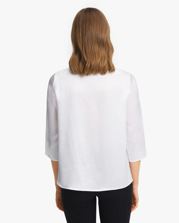 3/4 Sleeve Boat Neck Silk Blouse-hover