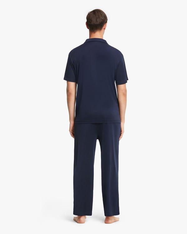 Short sleeves Men Silk Knit Pajama set Navy Blue L-hover