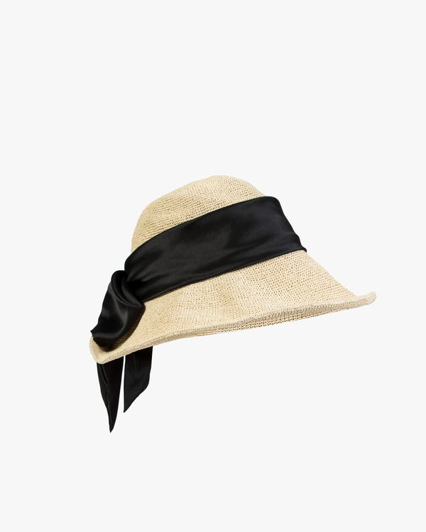 Sun Hat With Silk Ribbon-hover