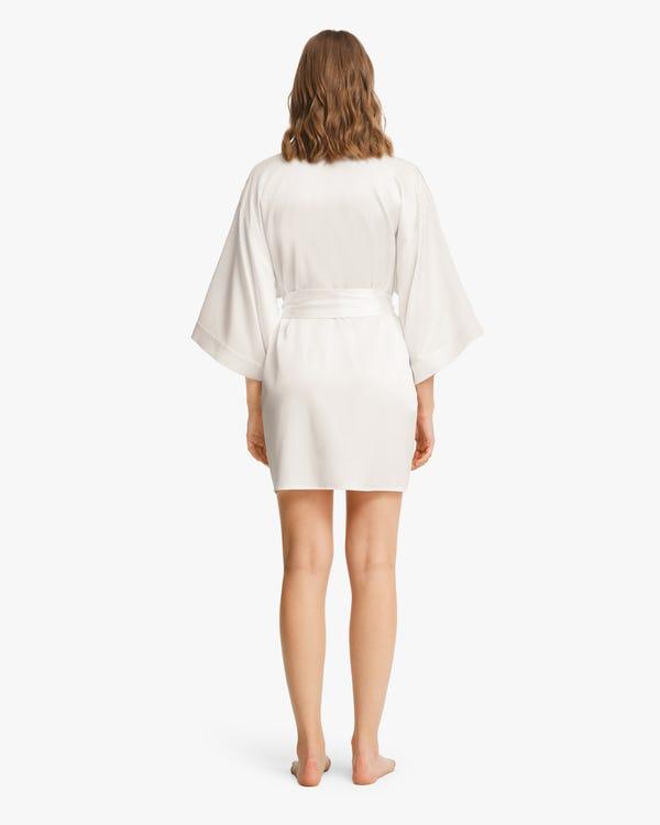 Glossy Silk Mini Robe For Women-hover