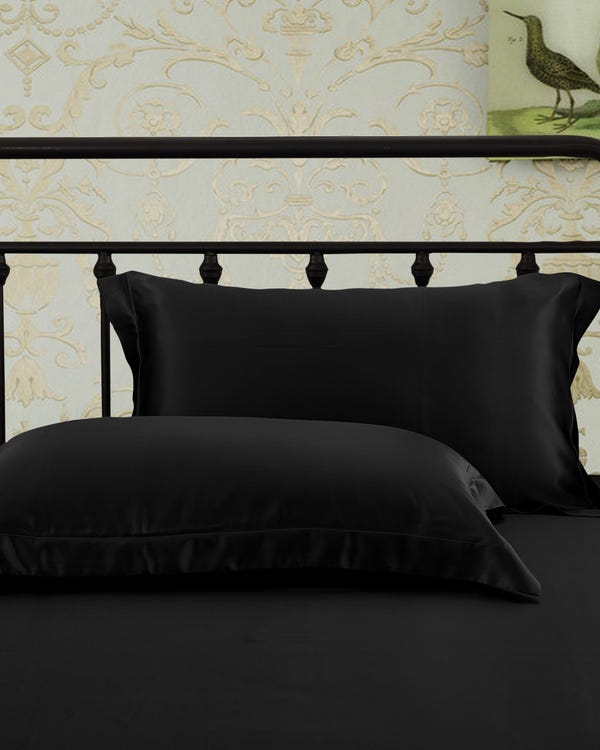 Taie d'Oreiller Oxford Luxueuse 25 Momme Noir 50 x 60 + 5cm-hover