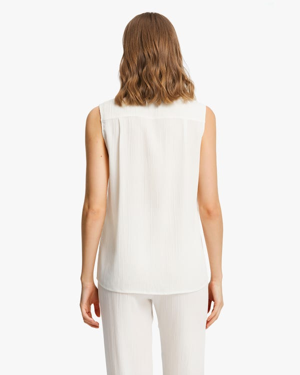 Camisa Seda Sin Mangas con Textura-hover