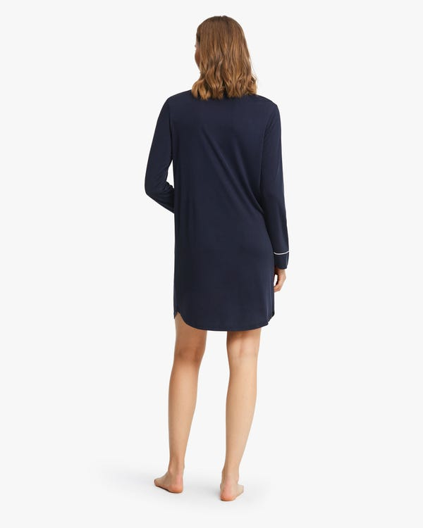 Classic Trimmed Silk Knit Nightshirt-hover