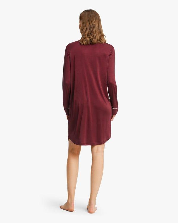 Camicia da notte in maglia di seta con taglio classico Claret M-hover