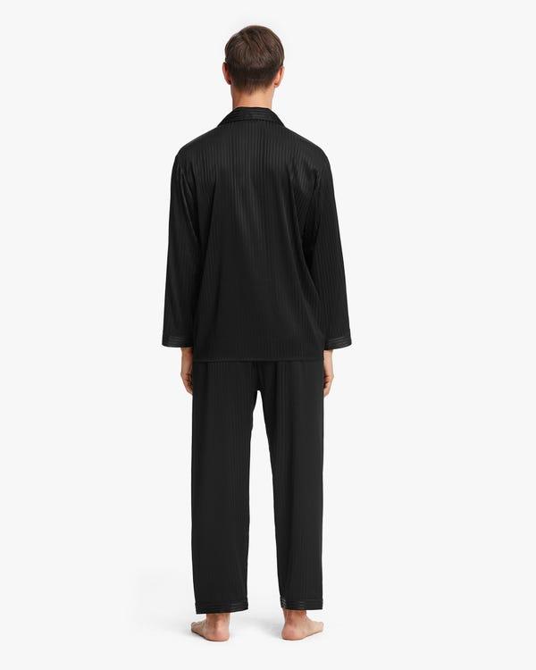 Stretchable Men Silk Pajamas Set Black M-hover